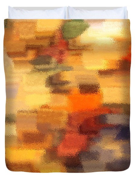 Warm Colors Under Glass - Abstract Art Duvet Cover by Carol Groenen