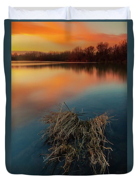 Duvet Cover featuring the photograph Warm Evening by Davor Zerjav