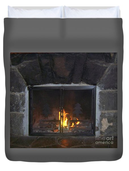 Warm Fireplace Duvet Cover