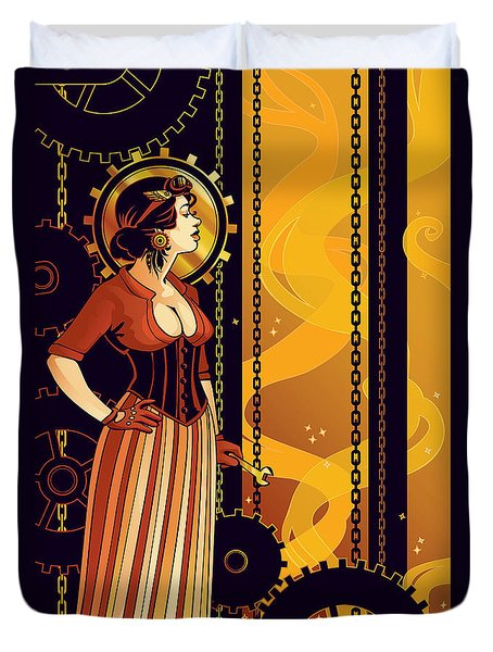 Warm Machinery Duvet Cover by Dani Kaulakis