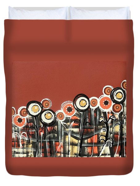 Warm Red Flowers Duvet Cover