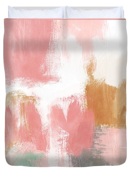 Duvet Cover featuring the mixed media Warm Spring- Abstract Art By Linda Woods by Linda Woods