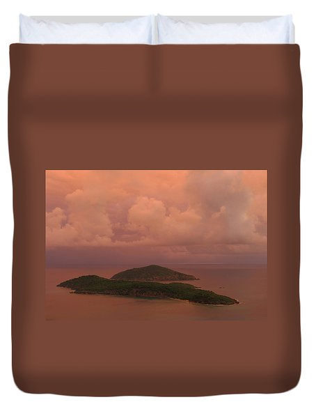 Warm Sunset Palette Of Inner And Outer Brass Islands From St. Thomas Duvet Cover