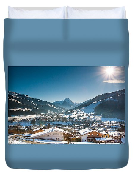 Warm Winter Day In Kirchberg Town Of Austria Duvet Cover