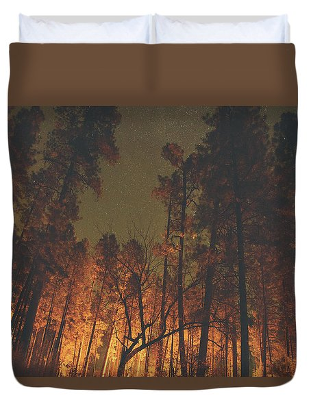 Warmth Of Trees And Stars Duvet Cover