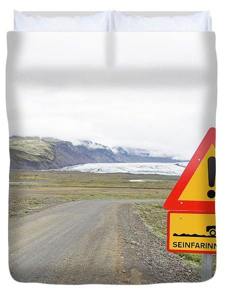 Warning Road Sign Iceland Duvet Cover