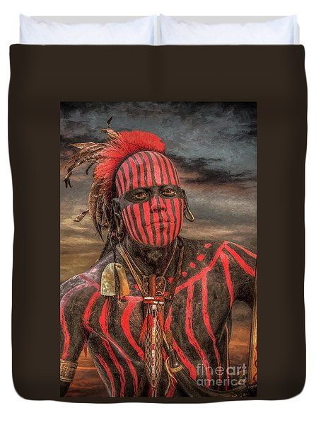 Warpath Shawnee Indian Duvet Cover by Randy Steele