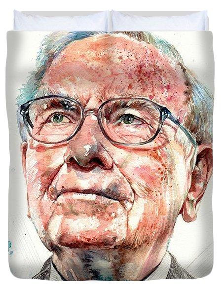 Warren Buffett Portrait Duvet Cover