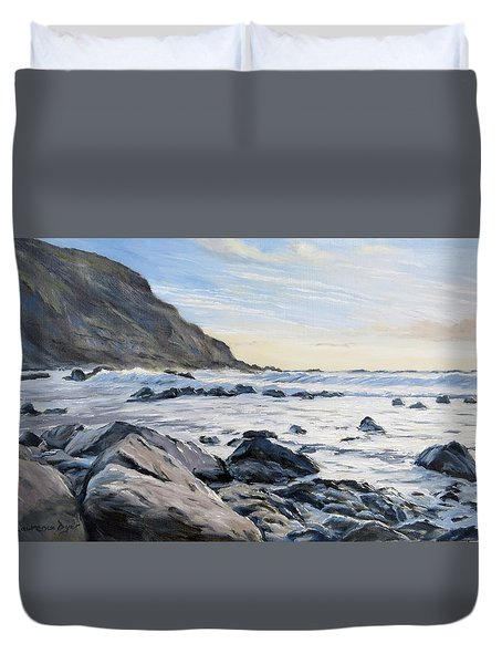 Duvet Cover featuring the painting Warren Point Sunset Duckpool by Lawrence Dyer