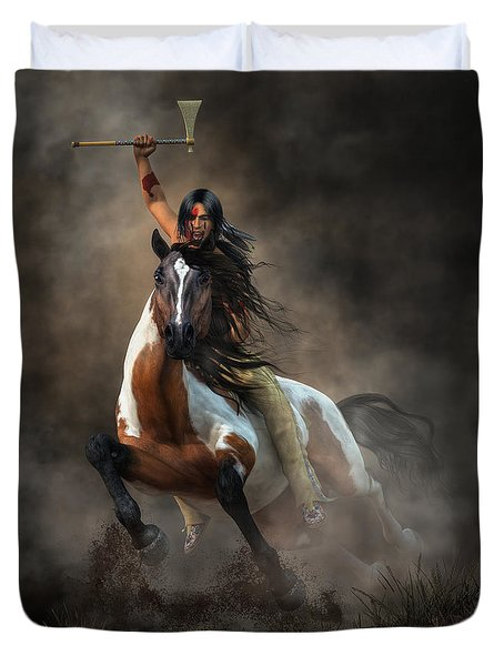 Duvet Cover featuring the digital art Warrior by Daniel Eskridge