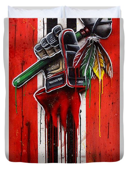 Warrior Glove On Red Duvet Cover by Michael T Figueroa