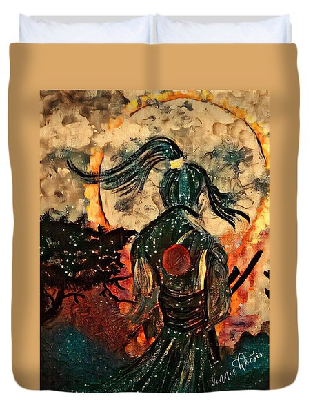 Warrior Moon Duvet Cover by Vennie Kocsis