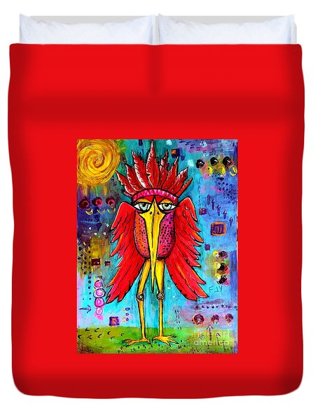 Duvet Cover featuring the painting Warrior Spirit by Vickie Scarlett-Fisher