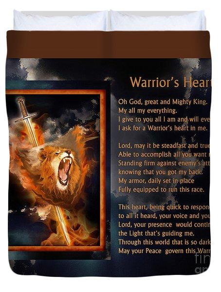 Warrior's Heart Poetry Duvet Cover