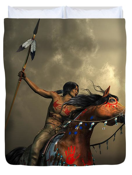 Duvet Cover featuring the digital art Warriors Of The Plains by Daniel Eskridge