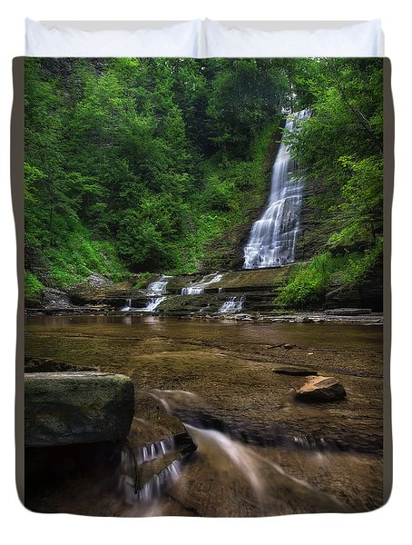 Duvet Cover featuring the photograph Warsaw Falls 2 by Mark Papke