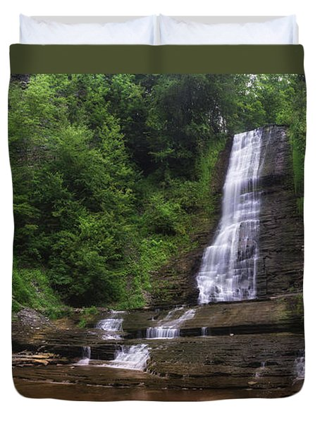 Duvet Cover featuring the photograph Warsaw Falls by Mark Papke