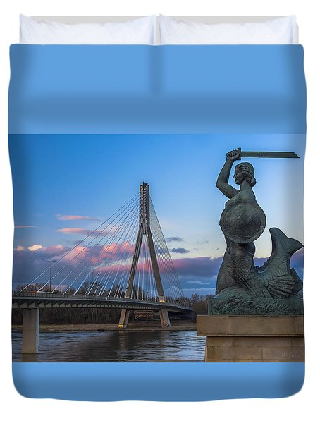 Warsaw Mermaid And Swiatokrzyski Bridge On Vistula Duvet Cover by Julis Simo
