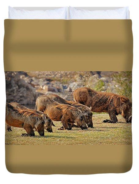 Warthogs Doing Lunch Duvet Cover by Joe Bonita