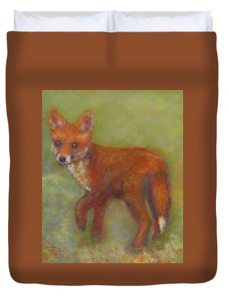 Wary Fox Cub Duvet Cover by Richard James Digance