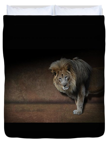 Duvet Cover featuring the photograph Was That My Cue? - Lion On Stage by Debi Dalio