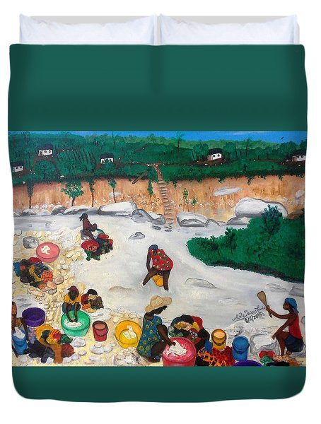 Washing Clothes By The Riverside In Haiti Duvet Cover by Nicole Jean-Louis