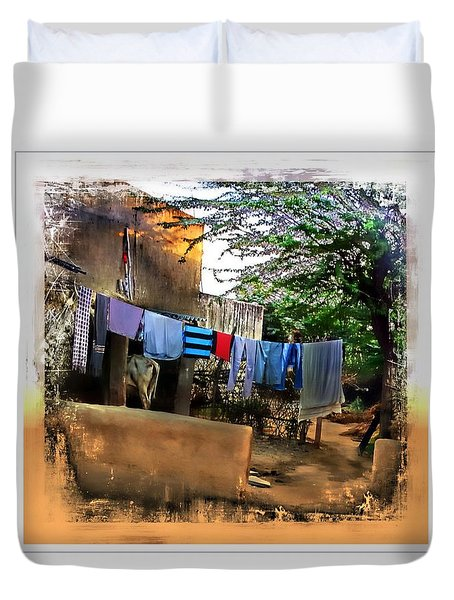 Washing Line And Cows Indian Village Rajasthani 1b Duvet Cover