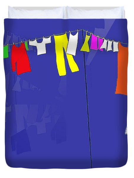 Duvet Cover featuring the digital art Washing Line by Barbara Moignard
