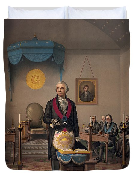 Washington As A Master Mason Duvet Cover
