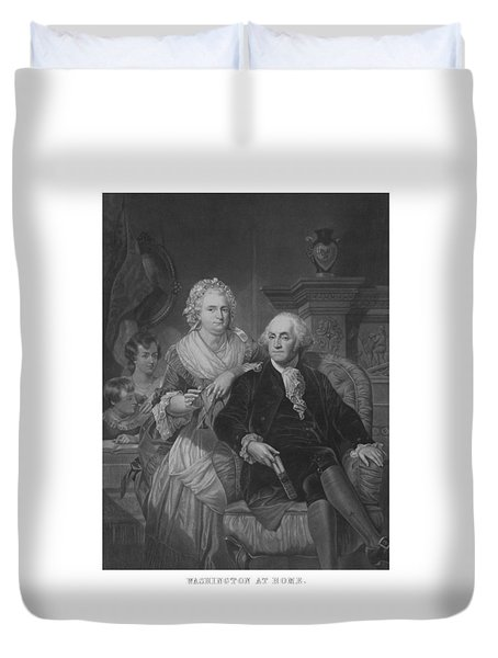 Washington At Home Duvet Cover by War Is Hell Store
