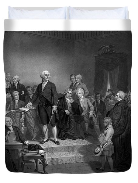 Washington Delivering His Inaugural Address Duvet Cover