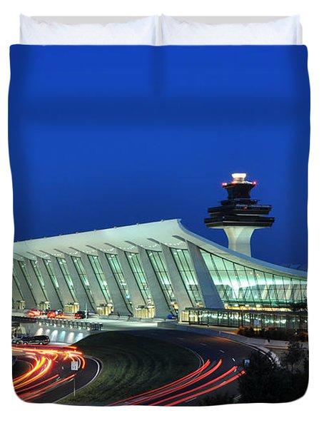 Washington Dulles International Airport At Dusk Duvet Cover