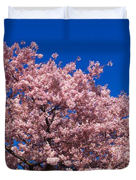 Washington Monument & Spring Cherry Duvet Cover by Panoramic Images