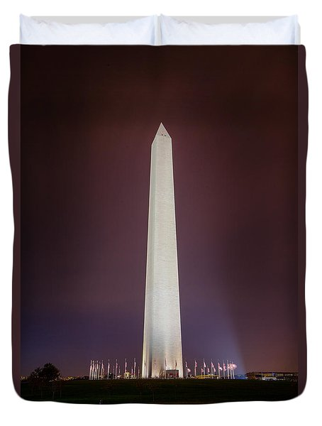 Duvet Cover featuring the photograph Washington Monument At Night by Ross Henton