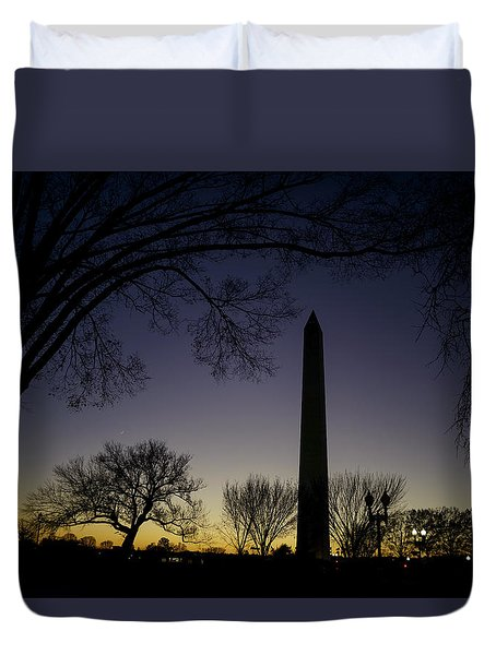 Washington Monument At Twilight With Moon Duvet Cover