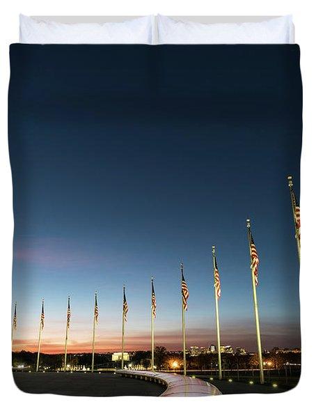 Washington Monument Flags Duvet Cover