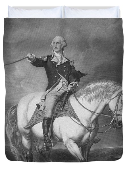 Washington Receiving A Salute At Trenton Duvet Cover by War Is Hell Store