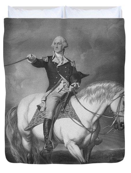 Washington Receiving A Salute At Trenton Duvet Cover