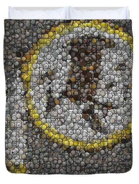 Duvet Cover featuring the mixed media Washington Redskins Coins Mosaic by Paul Van Scott