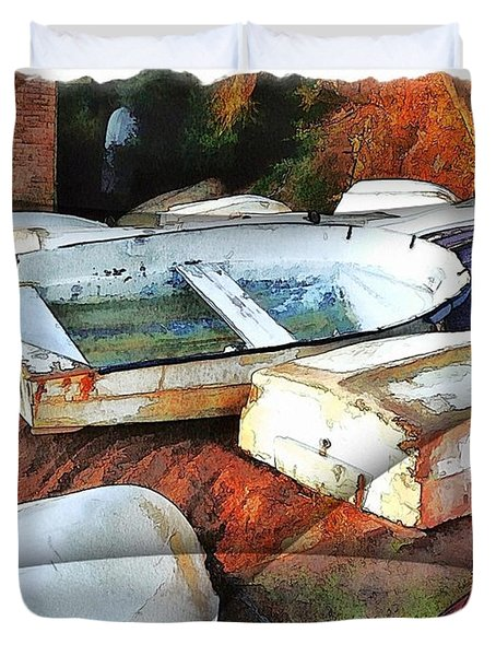 Wat-0012 Tender Boats Duvet Cover