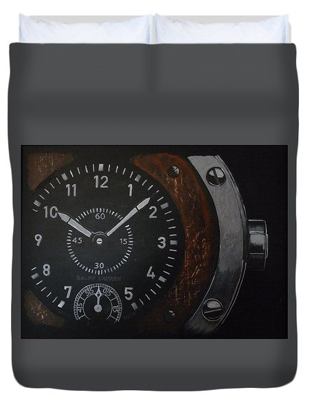 Duvet Cover featuring the painting Watch by Richard Le Page