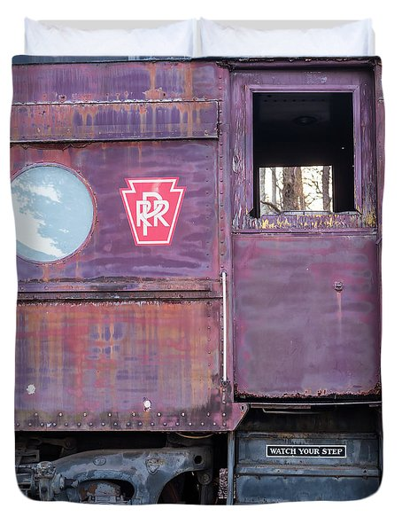 Watch Your Step Vintage Railroad Car Duvet Cover by Terry DeLuco