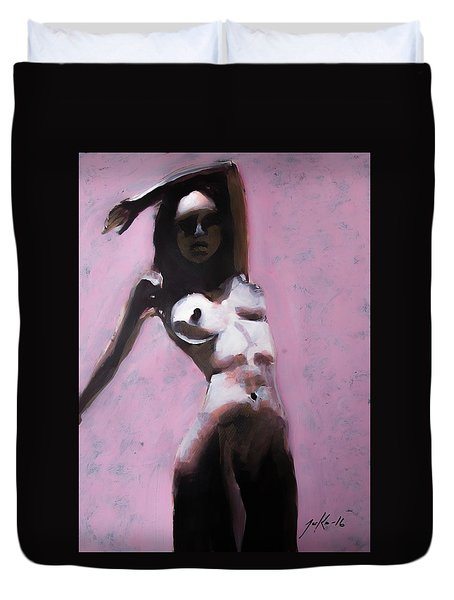 Duvet Cover featuring the painting Watcher's Digest Two by Jarko Aka Lui Grande