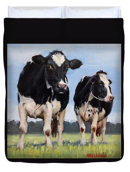 Watchful Cows Mini Painting  Duvet Cover