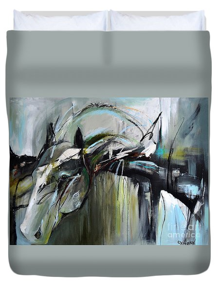 Duvet Cover featuring the painting Watchful Gaze by Cher Devereaux