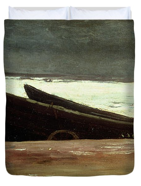 Watching A Storm On The English Coast Duvet Cover by Winslow Homer