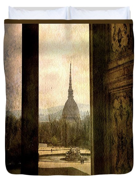 Watching Antonelliana Tower From The Window Duvet Cover
