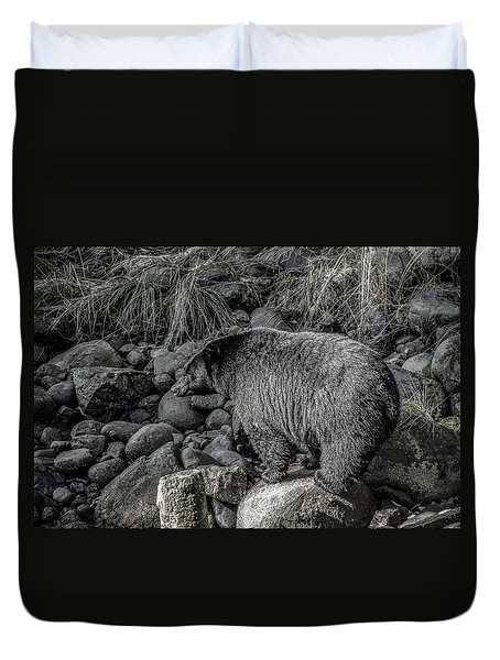 Watching Black Bear Duvet Cover