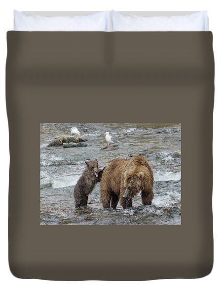 Watching For The Sockeye Salmon Duvet Cover
