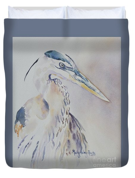 Duvet Cover featuring the painting Watching by Mary Haley-Rocks